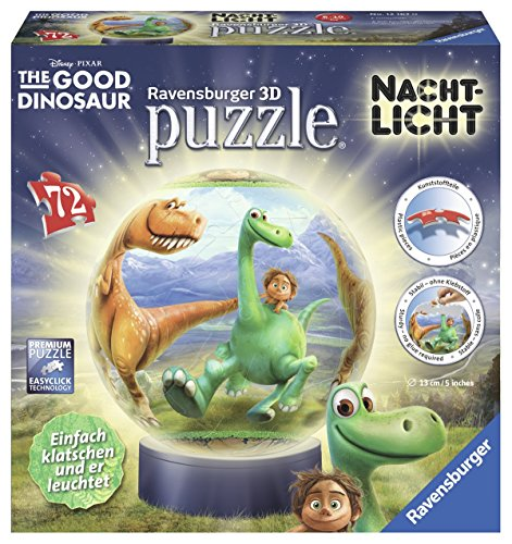 Ravensburger 12167 3-D Puzzles, The Good Dinosaur, 72 Teile, 3D Puzzle-Ball Nachtlicht