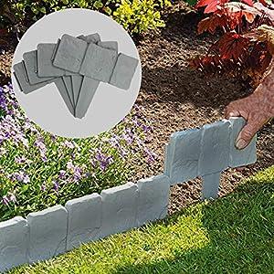 Pukkr Bordes con efecto de césped de piedra de 5 metros | Planta limítrofe | Martillo En Borde De Jardín De Adoquines | 20 piezas (5m)