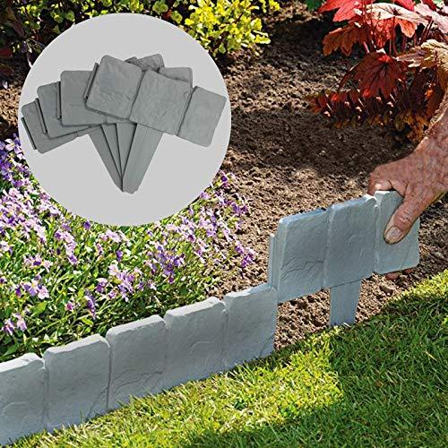 5 Meter Grey Stone Effect Rasenkanten | Pflanzengrenze | Hammer In Cobblestone Garten Grenze | Blumenbeet & Gras | 20 Stück (5m) | Pukkr