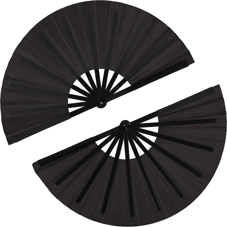 2 Pieces Large Folding Fan Nylon Cloth Handheld Folding Fan Chin