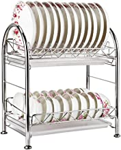 Tableware Storage, Drain Rack / 2 Tier Drainers Stainless Steel for Kitchen Dish Drying Racks Plate Rack Kitchen Compact Frame Rustproof