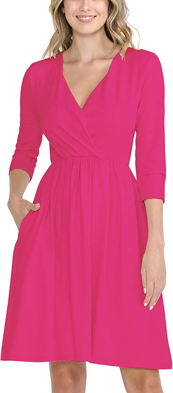WeSeeFashion Quality Basic Casual Wrap Dress - Quarter Sleeves Brushed Buttery Soft Fabric Dress