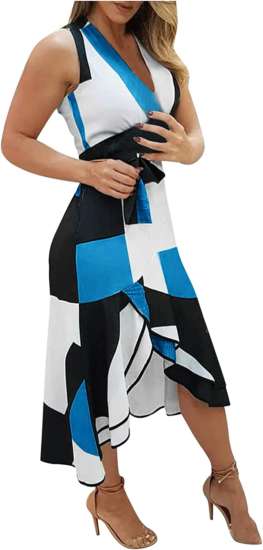 Smooto Womens Sexy Dress Fashion Short Sleeve Flower Print Maxi Dress with Belt