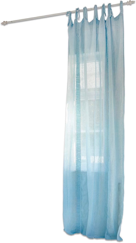 Loberon Gardine Adrien, Leinen, H B ca. 250 140 cm, blau