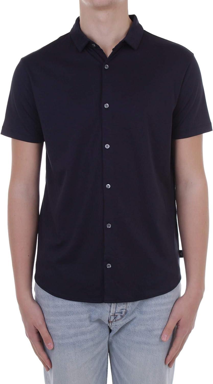 Armani Men's Slim Fit Jersey Cotton Short Sleeve Shirt Navy