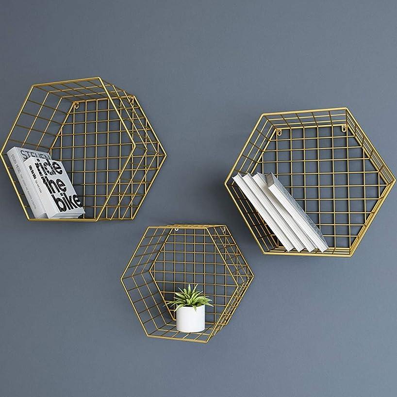 ハリウッドアスレチックアラブサラボメタルラック壁掛け六角形収納ラックリビングルームの寝室フローティング棚壁の装飾本棚バーの装飾品 (色 : ゴールド)
