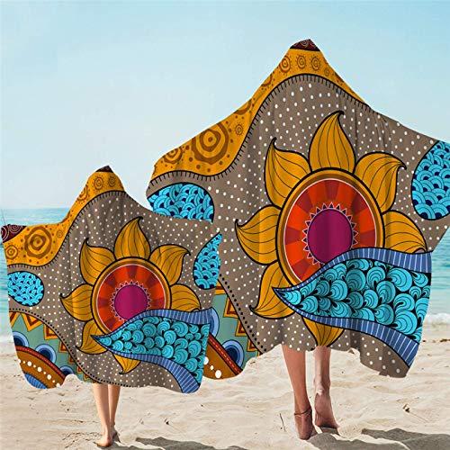 Toalla con capucha de flores étnicas Toallas de playa para adultos Toallas de sol florales Baño Retro Style Beach Mat