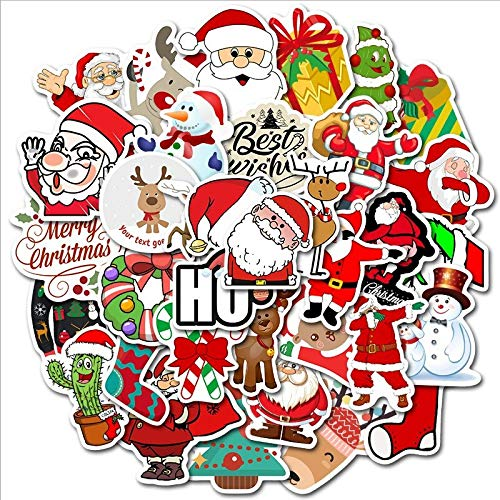 Natale Santa Adesivi Per il Computer Portatile Bottiglia di Acqua Bagagli Impermeabile Graffiti Decalcomanie Estetica Adesivi Pacchetti Kid Giocattoli 50 Pz