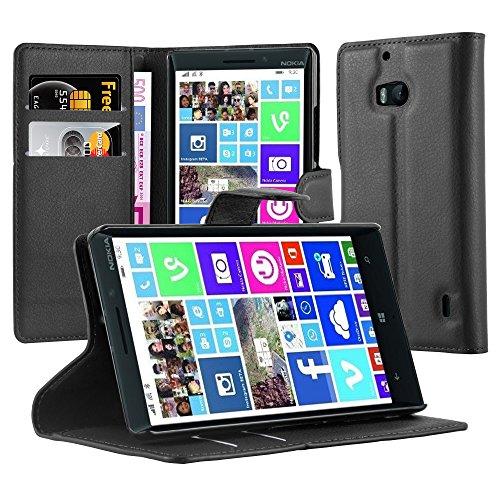 Cadorabo Custodia Libro per Nokia Lumia 929/930 in Nero Carbone - con Vani di Carte, Funzione Stand e Chiusura Magnetica - Portafoglio Cover Case Wallet Book Etui Protezione
