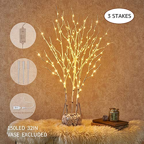 Hairui Pre Lit Artificial Twig Birch Branch with Fairy Lights 32IN 150 LED Plug in White Willow Branch Lights for Christmas Easter Decoration Indoor Outdoor Use (Vase Excluded)