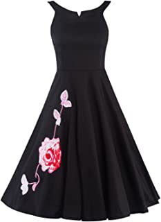 JINGJQINGCAO Women Elegant Sleeveless Embroidered Floral Evening Party Dress