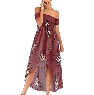 Sexy Dress Strapless Floral Fashion Slim Chiffon Skirt Big Swing Skirt Women's