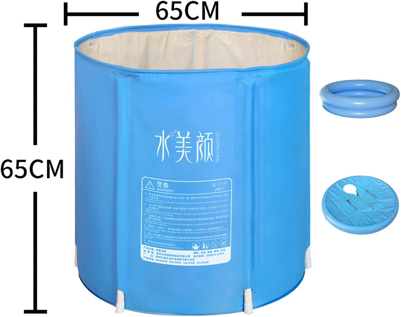 WZLDP Inflatable bathtub thick insulation environmental predection plastic folding simple household adult bathroom bathtub bathtub bathtub thicker bucket bath tub (color    1, Size   68  70CM)