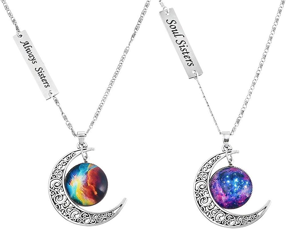 MJartoria Best Friends Necklaces Moon Pendant, Engraved Friendship BFF Necklace for 2