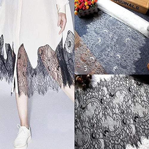 3m / pack gratis verzending breedte 40cm wit zwart diy prachtige klassieke wimper kant decoratie borduurwerk kant stof, gebroken wit