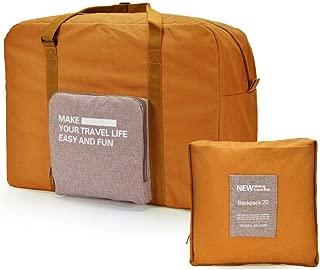 CAREMORE Unisex's Lightweight Foldable Waterproof Duffel Travel Bag Luggage Bag Large Capacity Orange