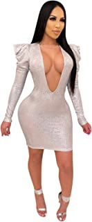 Women's Sexy Dress, Mini Dresses Sequin Mini Bodycon Dress Sexy Deep V Neck Glitter Party Dresses Clubwear,Silver,L