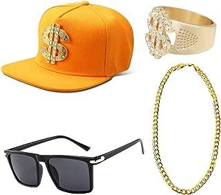 Mens 1980s/90s Hip Hop Rapper Costume Accessories Set Rock Baseball Hat Gold Chain Necklace Lion Rings Sunglasses