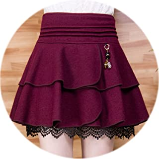 825e191da GUANGXINNI Autumn and Winter Short Skirts high Waist Woolen Short Skirts,Red  Wine,4XL