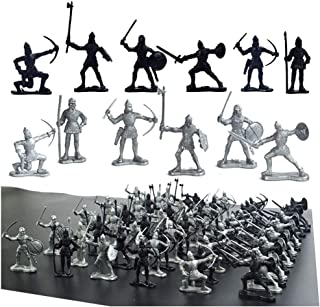 60 pcs Medieval Soldiers Military Figures Toy Ancient Roman Soldiers Figures Statues Middle Ages Army Infantry Archer Warr...