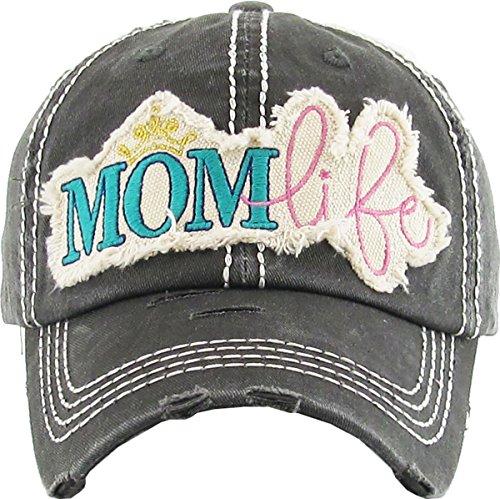 Distressed Baseball Cap - Mom Life (Black)
