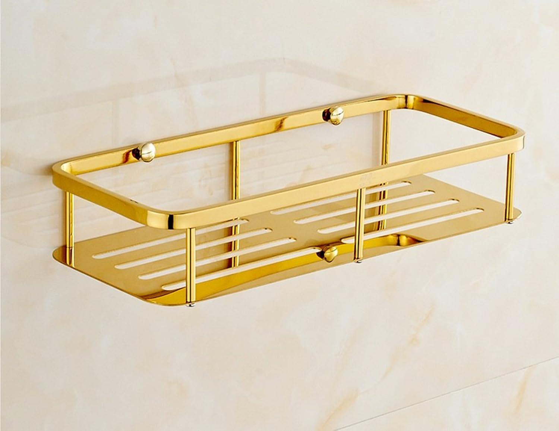 Single Tier Stainless Steel Rectangular Plate Basket Bathroom Storage Rack (color   golden)
