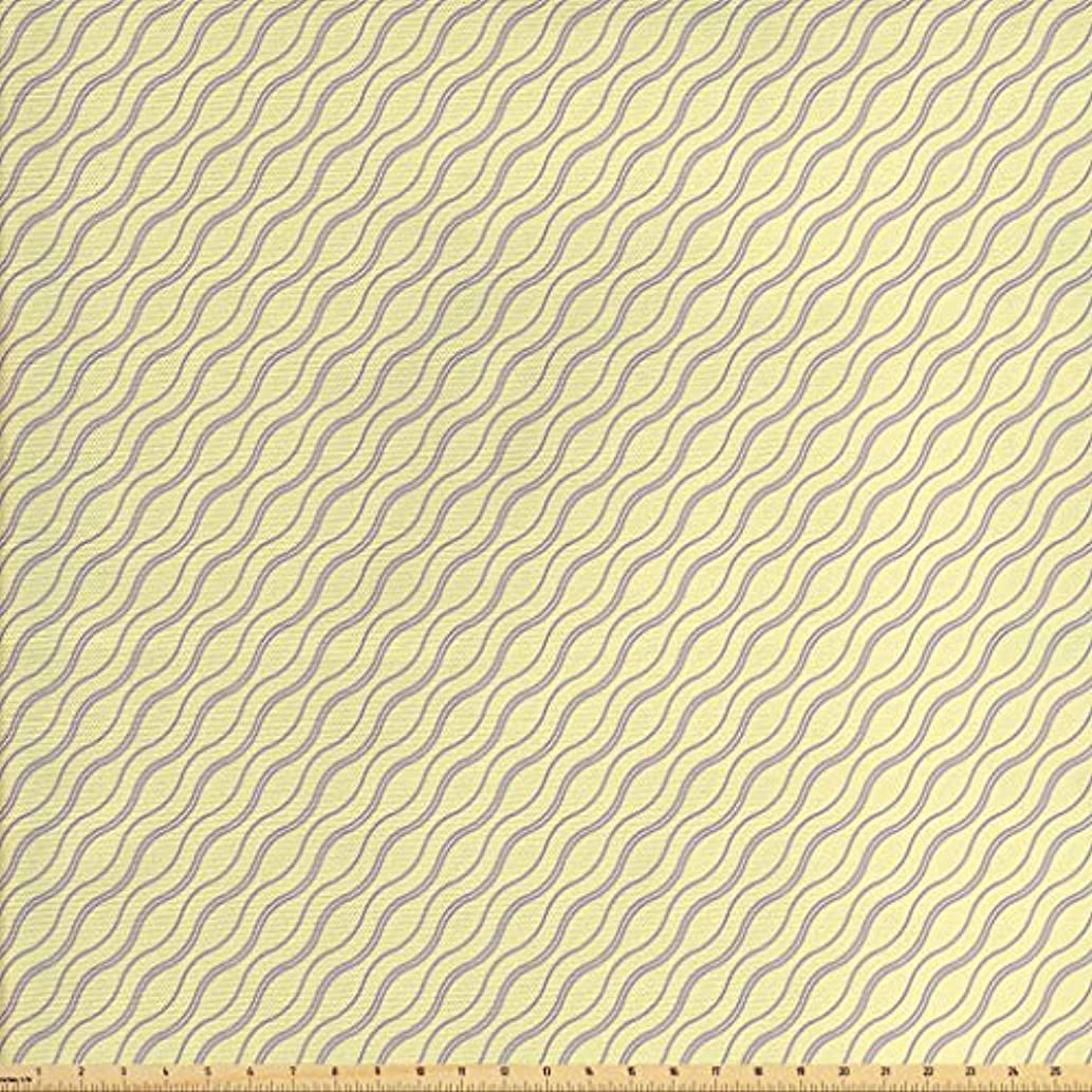 Lunarable Abstract Fabric by The Yard, Skewed Wavy Lines Pattern with Soft Yellow Backdrop Artistic Print, Decorative Fabric for Upholstery and Home Accents, 3 Yards, Pale Yellow and Purple