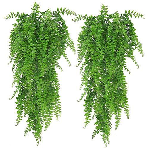 QUMocky 2 piezas artificiales colgantes de vides plantas, hojas de guirnalda de ratanes persas falsas para colgar en la pared, para colgar en la pared, interior, exterior, jardín, boda