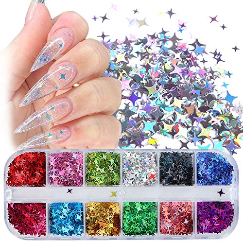 Star Nail Art Stickers Glitter Four-pointed Star Flakes Nail Art Sequins Paillette Confetti Holographic Laser Shining Gel Colorful Nails Decoration DIY Acrylic Nail Supplies Manicure Tips 12 Grids