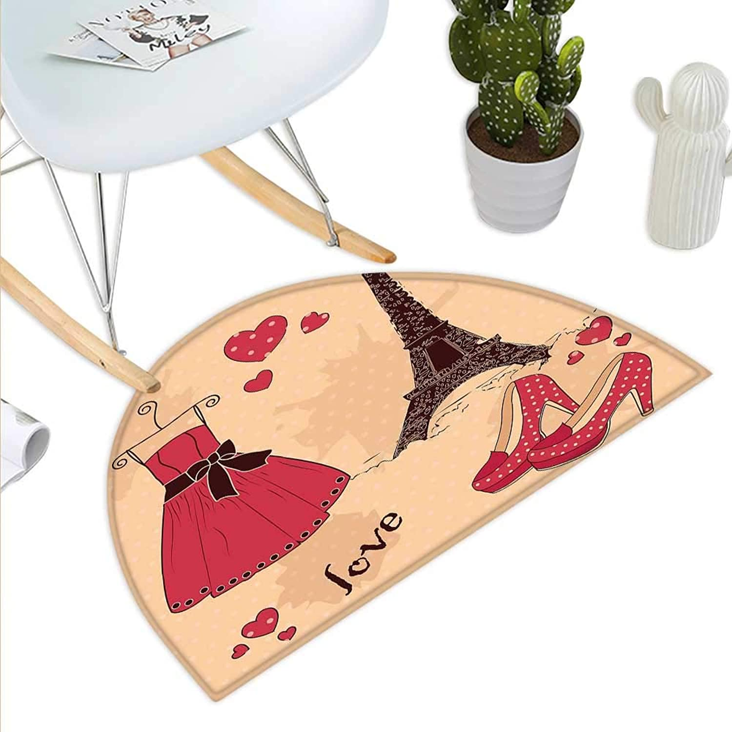Heels and Dresses Half Round Door mats Paris Boutique French Retro Dress shoes Eiffel Tower Bathroom Mat H 39.3  xD 59  Dark Brown Pink Pale Salmon