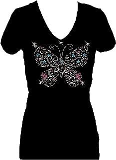 Butterfly Multi Rhinestone Womens V Neck Short Sleeve Tee Shirt