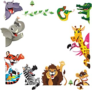 DEKOSH Kids Peel & Stick Animal Wall Stickers | Fantasy Jungle Theme Baby Nursery Wall Decals for Playroom | Decorative Kids Wall Decals Contain Colorful Giraffe, Lion & Tiger Stickers