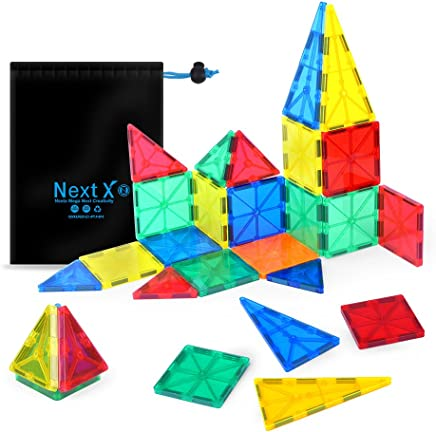 NextX Magnetic Building Blocks Toys 32 Pieces 3D Tile Set Early Educational STEM Toys for Boys and Girls - Best Birthday Gift
