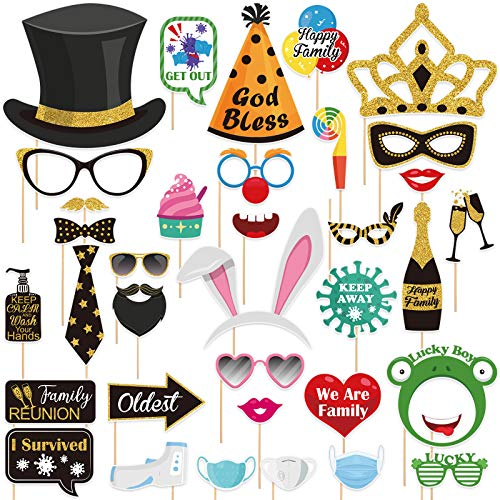 PRETYZOOM Easter Photo Booth Props Happy Family Thankful Themed Selfie Props Fully Assembled Bunny Ear Frog Cap Photo Booth Props NO DIY Needed