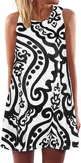 KYLEON Women Dresses Vintage Sleeveless Boho Print Dress Beach Short T Shirt Summer Tank Casual Swing Mini Sundress