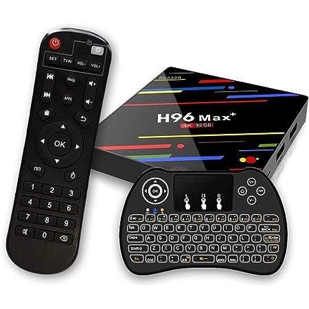 Android 9.0 TV Box,H96 MAX+ Smart TV Box con RK3328 Quad Core CPU,4GB RAM/64GB ROM Admite 4K 3D 2.4GHz/5.0GHz WiFi Bluetooth 4.0 con Mini Wireless ...
