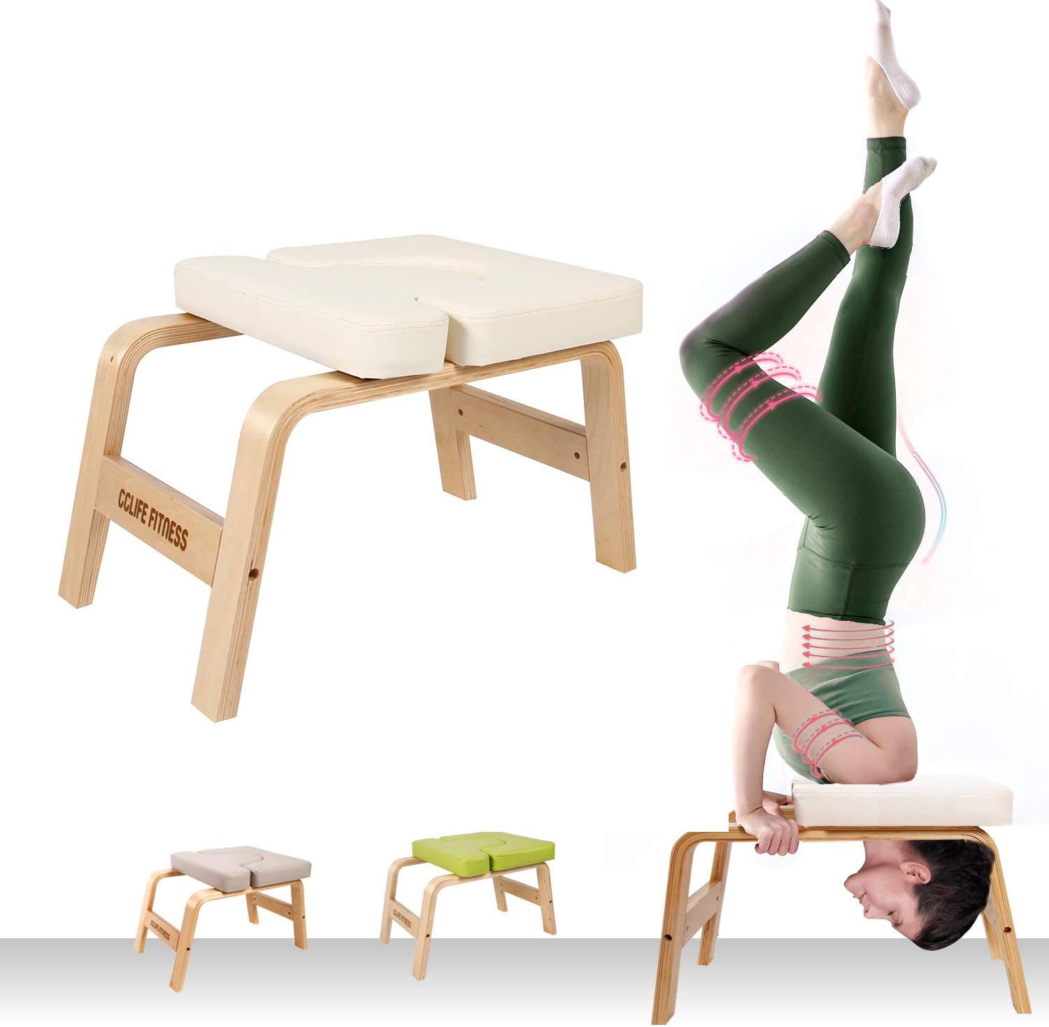 Headstand Bench Yoga Inversion Chair Soft PVC Leather Stable Comfortable Sturdy