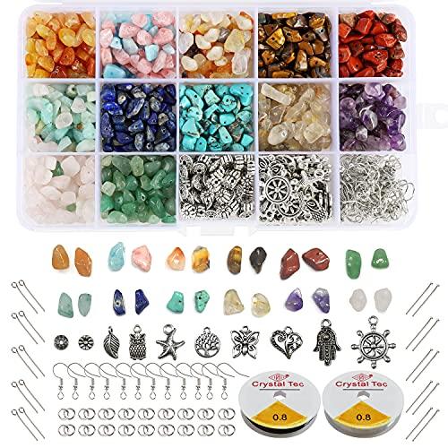 Hongyans 993 Piezas Cuentas de Piedra Naturales Piedras Preciosas Irregulares Kit de Fabricación de Joyas para Manualidades de Bricolaje Pulseras Pendientes Collares
