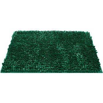 DealMux Assorbente Morbida Shaggy Non di Slittamento della stuoia di Bagno Bagno Doccia Piano casa Tappeti Carpet Verde Scuro 40x60cm