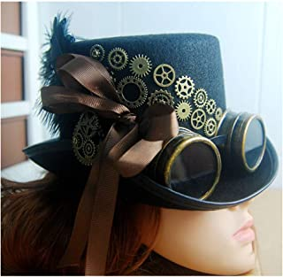 SHENTIANWEI Women Black Steampunk Top Hat with Gear Glasses Cosplay Hat Retro Gear Hat Bowler Hat