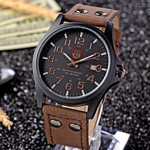VANKER Moda clásica SOKI Deporte de los Hombres al Aire Libre de la Correa de Cuero de imitación Banda de Cuarzo Reloj de Pulsera - marrón Oscuro