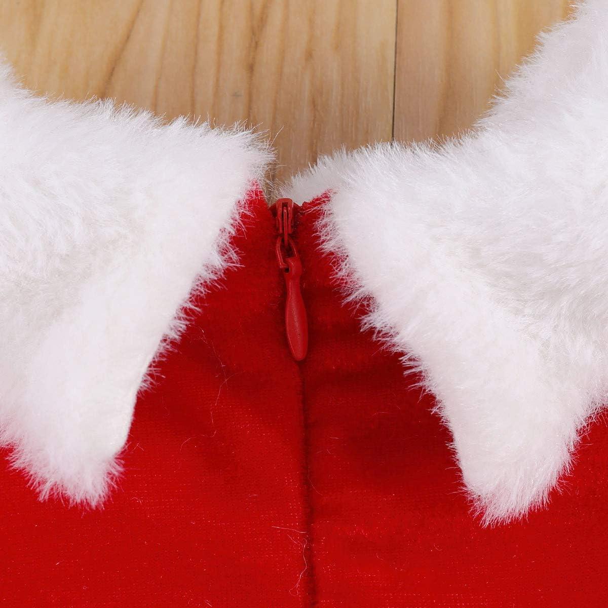 Infant Baby Girl Christmas Dress Red Velvet Fly Sleeve High Waist Midi Princess Santa Dress Christmas Outfit Xmas Clothes