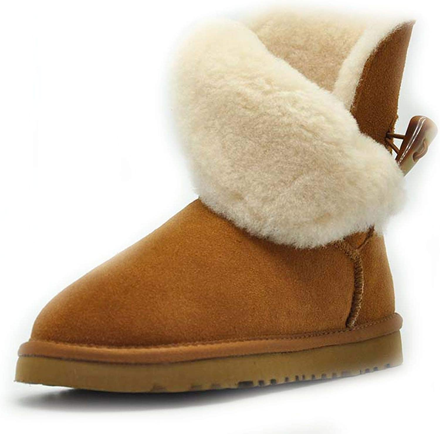 Talk about heaven 100% Real Fur Classic Waterproof Genuine Cowhide Leather Snow Boots for Women