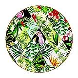 Posavasos para Bebidas Hojas de Loro Flamenco Redondo Portavasos Juego de 6 Cuero Decorativo Coaster Creativa Posavasos Set de Regalo 11x11 cm