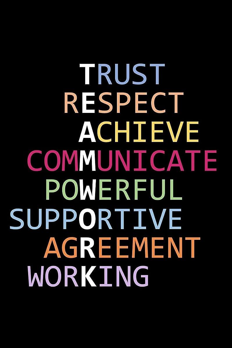 電化するアスリート抑圧するTeamwork - Trust Respect Achieve Communicate Powerful Supportive Agreement Working: Team Building Notebook