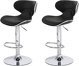 Joveco 360 Degree Swivel Adjustable Saddleback Design Bar Stool - Set of 2 (Black) Wholesale Price Available
