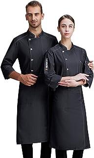 Hhwei Uniforme da Cuoco da Uomo, Abito con Bottoni, Manica Lunga, Servizio da Cucina, Abbigliamento da Cucina, Catering