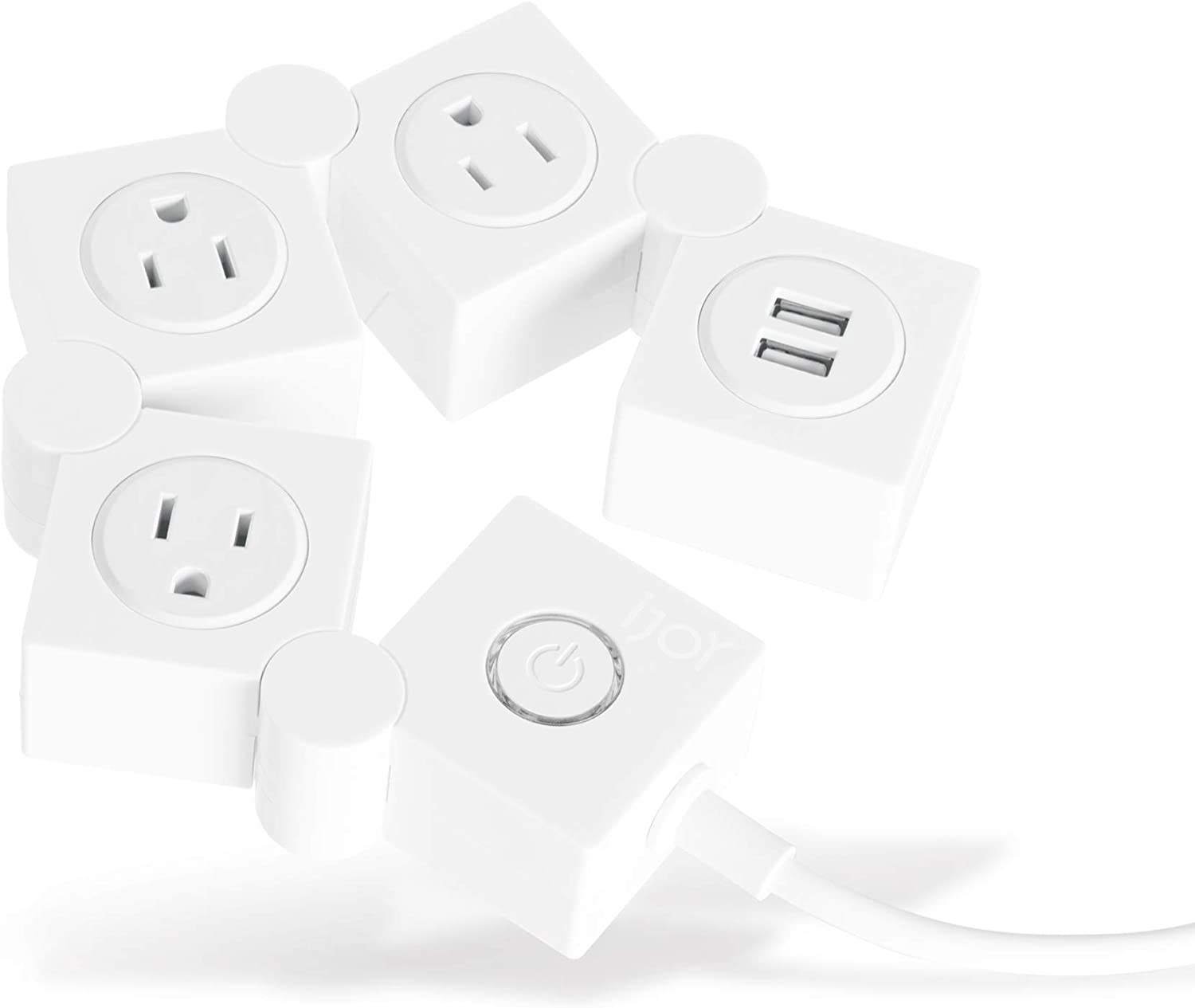 iJoy Decorative Surge Protector- 3 AC Outlets and 2 USB Charging Ports with 5 Ft Extension Cord- Power Strip Outlet Extender for Home Office, Dorm, Room and More (White)