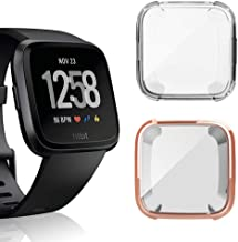 Case for Fitbit Versa, iHYQ Soft TPU Plated Screen Protector Cover Scratch-Proof All-Around Protective Bumper Shell for Fitbit Versa Smartwatch Accessories (Rosegold+Clear)
