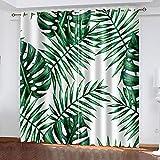 DRFQSK Cortinas Opacas Para Ventanas Salon Dormitorio Infantil 3D Plantas Tropicales Verdes Creativas Patrón Cortinas Aislantes Termicas Frio Y Calor Con Ojales 70 X 160 Cm(An X Al)2 Piezas Reduccion